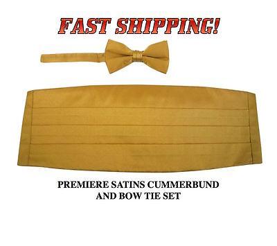 GOLD Cummerbund Bow Tie Premiere Satins Tuxedo Set New CBPS-14 Gold Satin Cummerbund