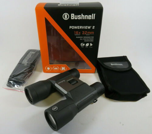 BUSHNELL Powerview2 16x32mm Compact Roof Prism Binoculars Metal Chassis PWV1632