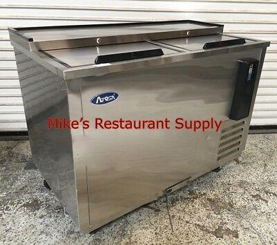 New 65 Bottle Box Beer Cooler 2 Door Atosa Mbc65 6785 Back Under Nsf Slide Top