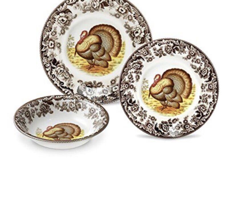 Woodland 3 Piece Set Turkey  Dinnerware Set