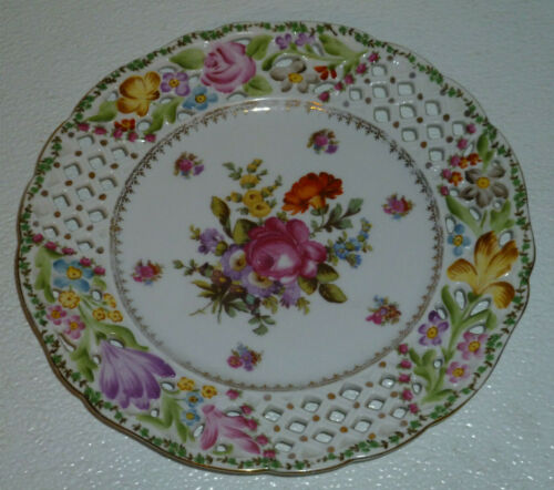 """Prov Saxe Plate ES Germany Pierced Reticulated Antique Floral Gold Trim 8.25"""""""