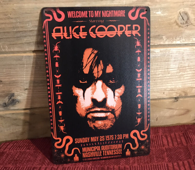 """Alice Cooper Welcome To My Nightmare 1975 Metal Tin Sign 8""""x12"""" Man-Cave Decor"""