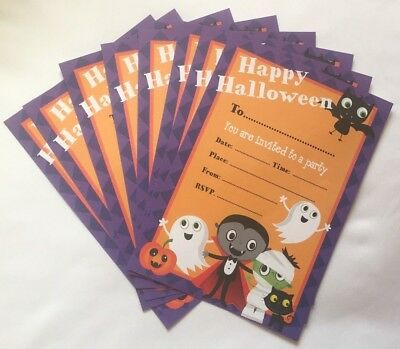 Halloween Pack of 8 Kids Invitation Party Cards With White Envelopes   - Kids Halloween Invitation