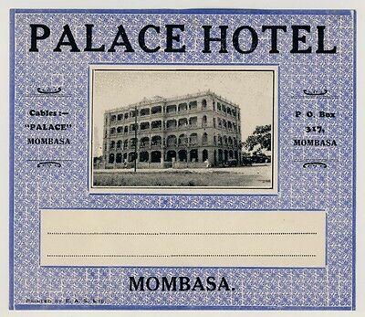 Palace Hotel MOMBASA Kenya East Africa * Old Luggage Label Kofferaufkleber