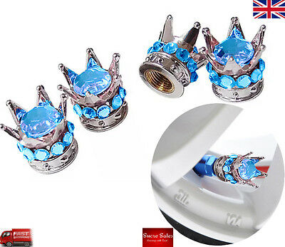 Silver Crown Blue Diamond Alloy Car Tire Tyre Valve Dust Caps Covers Set 4