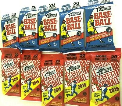 2018 & 2019 TOPPS HERITAGE BASEBALL FAT PACK COMBO  ( 10 PACK LOT )