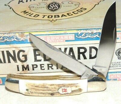 ROBERT KLAAS KISSING CRANE # 25 COPPERHEAD FAT STAG HANDLE 2 BLADE KNIFE