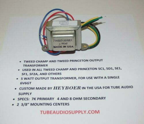 TWEED CHAMP/PRINCETON OUTPUT TRANSFORMER, 022905, 125A35A 5F1, 5F2A,  USA made