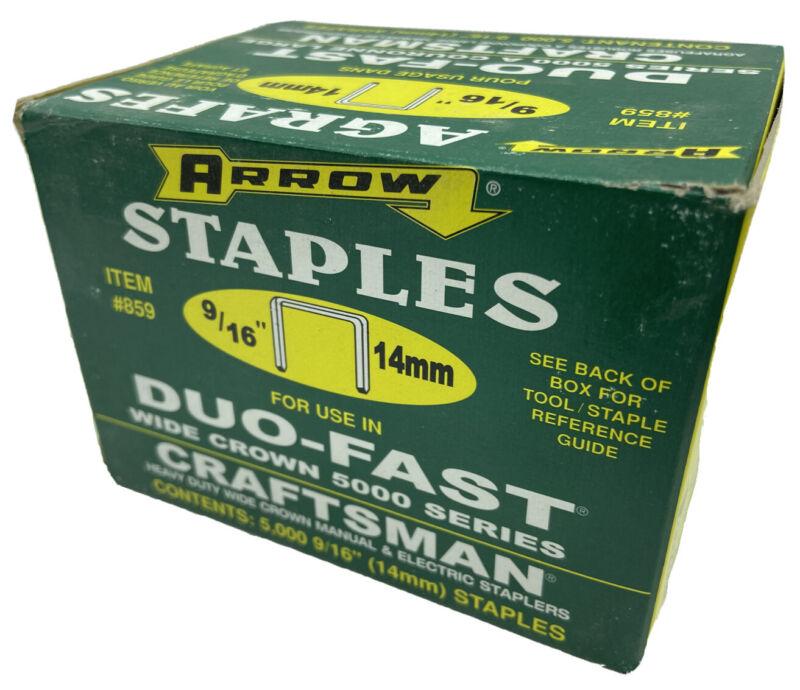 "Genuine Arrow Wide Crown Heavy Duty Staples 9/16"" 5,000 Staples #859, NEW"