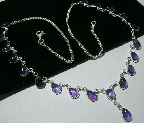 Vintage Style Sterling Silver Natural Amethyst Gem Stone Statement Necklace