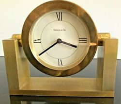 Solid Brass Tiffany & Co Desk Table Top Swing Mantel Clock Made in Switerland