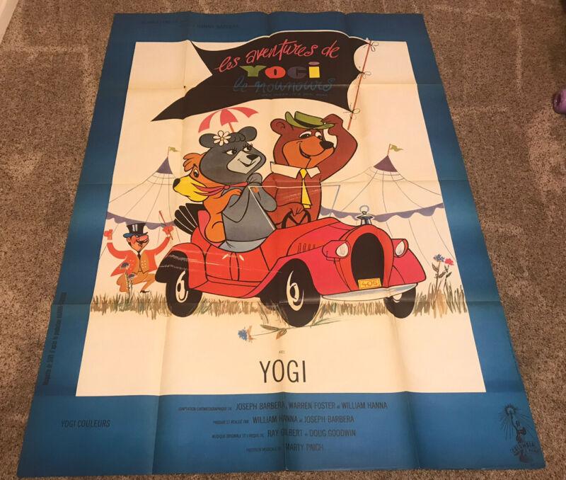 Original 1964 HEY THERE IT'S YOGI BEAR French Grande Movie Poster, Folded, 45x61