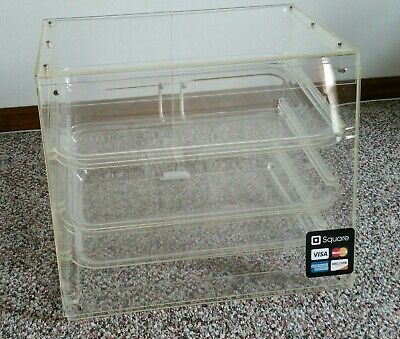 3 Tray Bakery Cookie Cake Pastry Display Case With Rear Doors - 21 X 17 X 16
