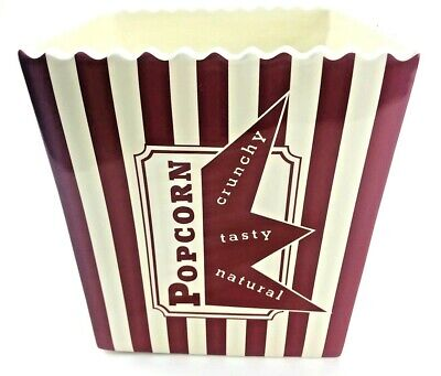Ceramic Popcorn Bowl (Williams Sonoma Ceramic Popcorn Bowl Bucket Bag Large Red White Striped)