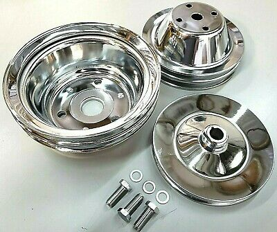 Long Water Pump - SBC Small Block Chevy 2 Groove Chrome Steel Long Water Pump Pulley Kit 327 350