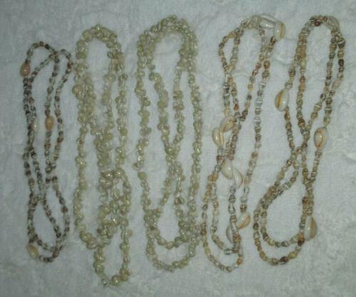 (5) Original Luau Sea Shell Tropical Beach Necklaces
