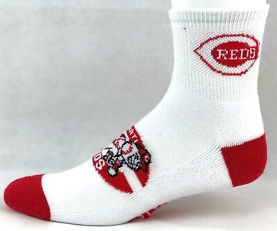Cincinnati Reds Men's Quarter Socks White Red with Baseball Head Logo -