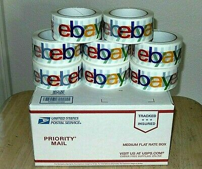 Lot Of 8 Ebay-branded Packing Shipping Tape-white Background Multicolor Letters