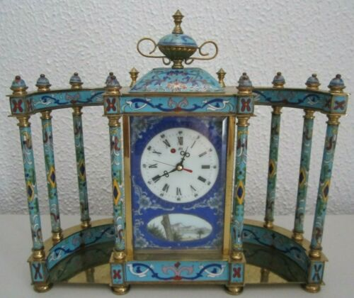FRENCH STYLE CLOISONNE MANTLE CLOCK ENAMEL AND BRASS WITH COLUMNS WINDS RUNS