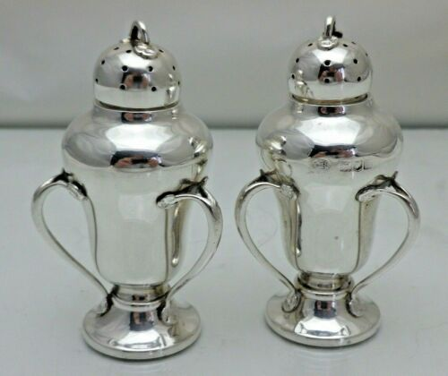 Antique Sterling Solid Silver Pair Pepper Pots Pepperettes 3 Handled (1828/9/GNY