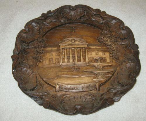 """Vintage German Carved 3-D Wood Resin Wall Plaque Plate (Wiesbaden kurhaus) 9"""""""