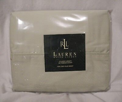 Lauren Ralph Lauren Pale Sage Twin Classic Flat Sheet Pima Cotton New In Package Cottage Classic Sage Green