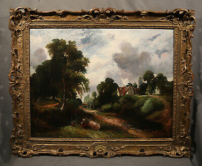 Road Forest Antique Dutch Landscape With Houses and Peasant Lady Seated