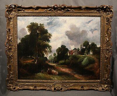 Strada Foresta Antico Dutch Landscape con Case e Contadino Lady Seated