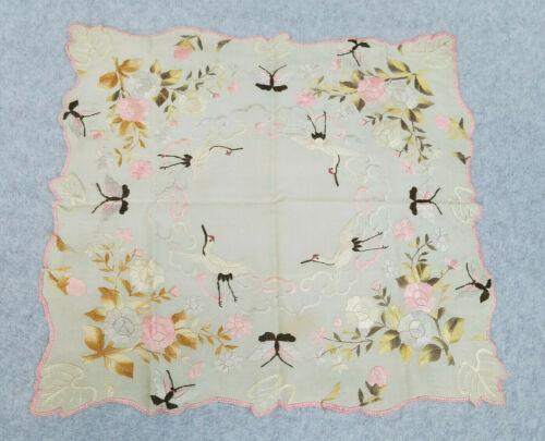 "Antique Hand Embroidered Silk Handkerchief Philippines Cranes Floral 13""x12"""