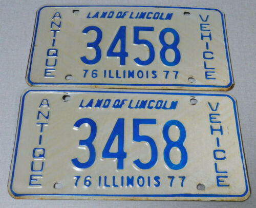 1976/77 Illinois antique vehicle license plate pair