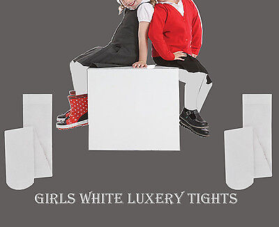 Girls Ladies Soft Winter Tights Sizes 1-10 in White Children School, Party Kids (Girls In White Tights)