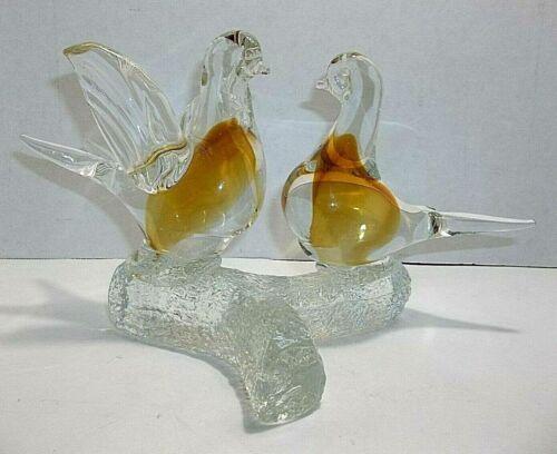 Vintage Murano Art Glass BIRDS On Branch AMBER GOLD Lovebirds DOVES
