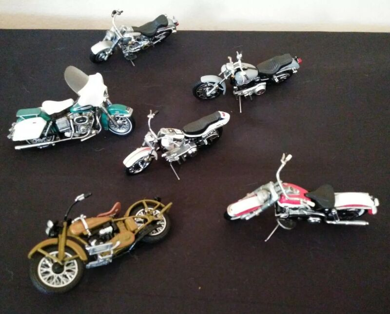 Franklin Mint Harley Davidson Lot Of 6 Diecast Motorcycles Used Collectible Play