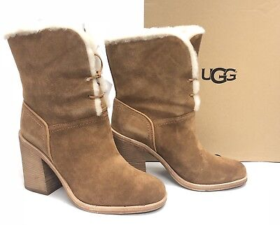 Ugg Lace Up Boots (UGG Australia Jerene Wool Lined Lace Up Boots Chestnut sizes 1018674 Stacked)