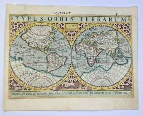 WORLD MAP 1613 MERCATOR HONDIUS ATLAS MINOR NICE UNUSUAL ANTIQUE MAP