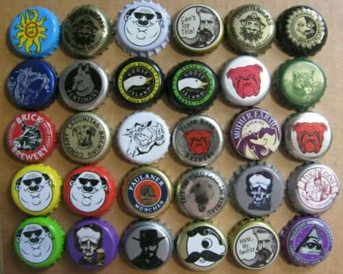 30 DIFFERENT MOSTLY MICRO CRAFT WITH FACES BEER BOTTLE CAPS