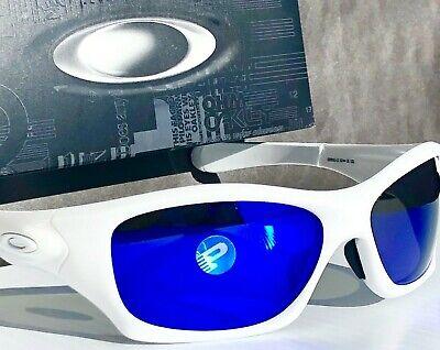 NEW* Oakley PIT BULL White w POLARIZED Galaxy BLUE & Grey lens Sunglass 9161