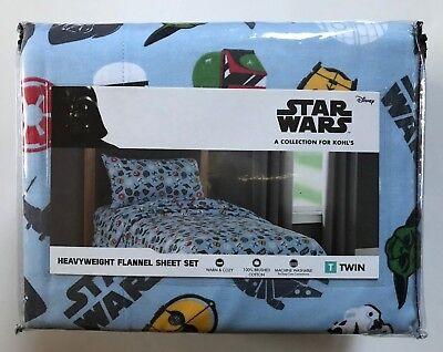 Disney Star Wars Heavyweight Flannel TWIN Sheet Set 100% Cotton NEW (Disney Cotton Sheet Set)
