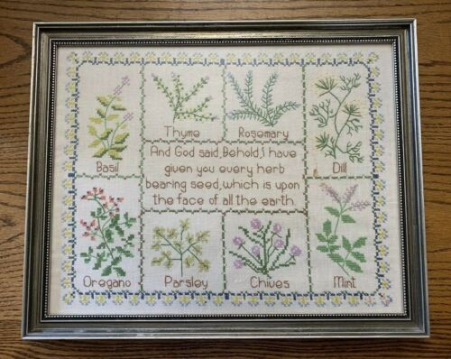 Vtg Completed Herb Scripture Cross Stitch Framed with Glass Handmade 15 x 18 1/2