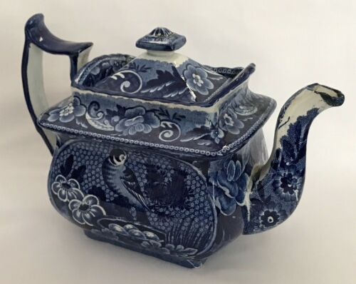 Antique 1800-1849 English Transferware Teapot- BIRD & FLORAL Dark Blue-White 6""