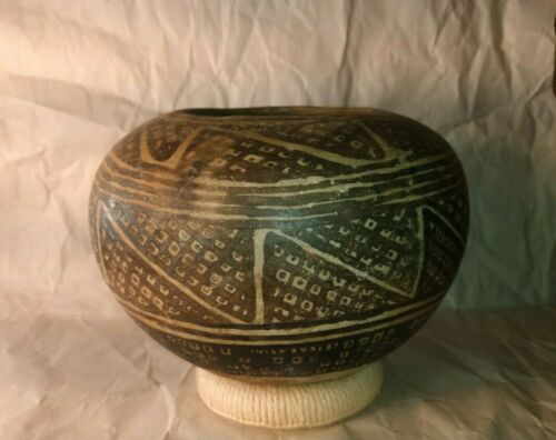 Rare Black Background Anasazi Seed Jar