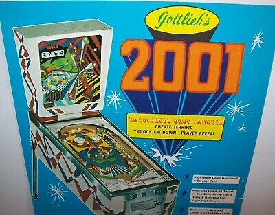 2001 Pinball FLYER Original 1971 Groovy Mod Retro Space Age Game Artwork Sheet