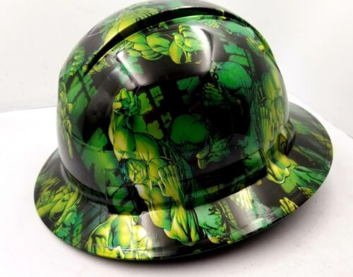 Hard Hat FULL BRIM custom hydro dipped , OSHA approved GREEN HULK NEW KILLER 3