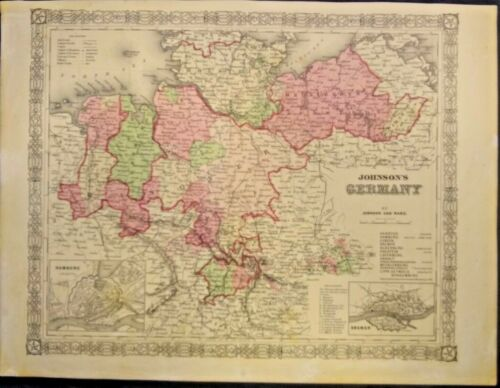 EXTREMELY RARE MAP OF JOHNSONS GERMANY 1863-1869 GENUINE FRAMEABLE VERY DETAILED