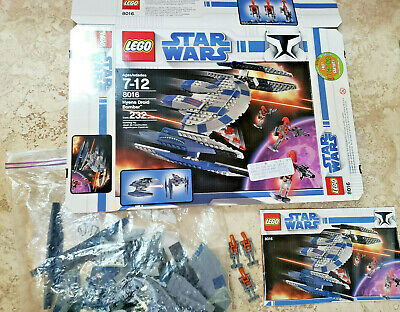 Lego Star Wars Hyena Droid Bomber (Set 8016) complete with droids, manual & box