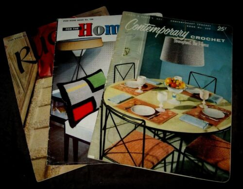VINTAGE~LOT OF 3 CROCHET & KNIT BOOKLETS FOR THE HOME~~GD/VGC~~LOT #P