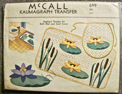 Vintage UNCUT 1939 McCall Kaumagraph Transfer Bath Mat & Seat Cover Pattern