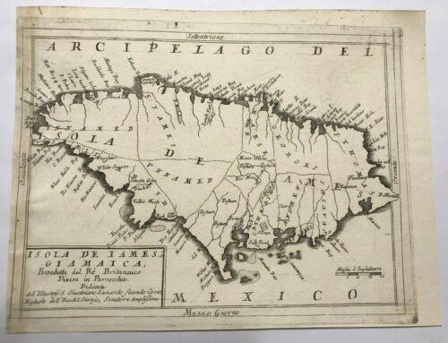 JAMAICA 1692 VINCENZO CORONELLI VERY UNUSUAL LARGE ANTIQUE MAP 17TH CENTURY