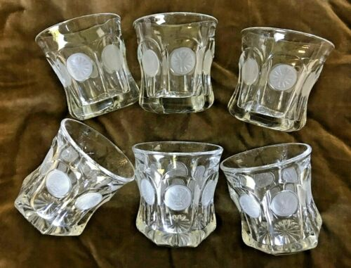 """6 Fostoria """"Coin"""" Old-Fashioned Tumblers w/ Frosted Coins ~ Used"""