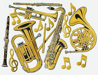 Gold Foil Musical Instrument Cutouts | Pack of 15 | Brass Band Party Decorations